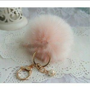 Accessories - Fluffy Dusty Rose Faux Fur Key Chain